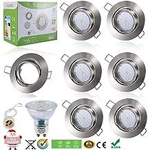 Liqoo® 6uds LED Focos Bombillas GU10 Luz de Techo Blanco Cálido 6W = 40W Halógena AC 220V Con Marco Redondo Bajo Consumo 2700K