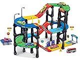 Dominiti Autogarage / Parkgarage mit Fahrzeugen / Kinder Spielzeug für Das Kinderzimmer / Tankstelle / Garage mit Autos (Bunt)