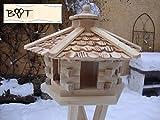 BTV Batovi Mangeoire pour oiseaux Toit à bardeaux en bois Imperméable 44cm