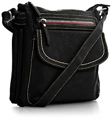 Big Handbag Shop Womens Faux Leather Cross Body Bag (5836 Black)