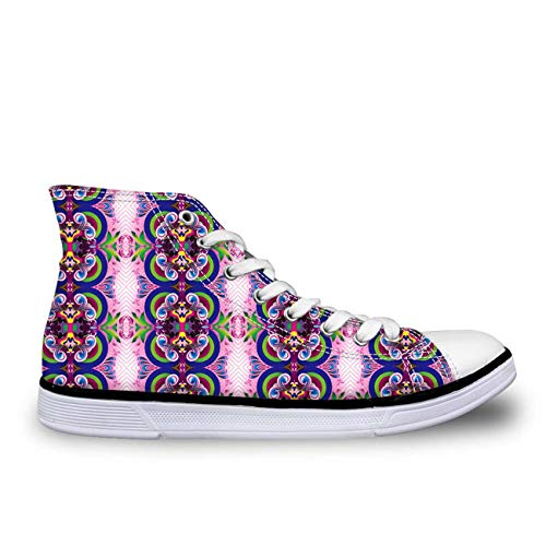 Green Paisley Designer Women Lace Up Sneakers Casual Canvas Shoes Flat Plimsolls with pink CC3097AK UK 7 Cushe Cushe Slipper