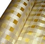 HH-NN-1968 5cm Stoffprobe Seidenstoff Jacquard Karo gelb Gold Meterware ca. 67cm breit (Kurzballen)