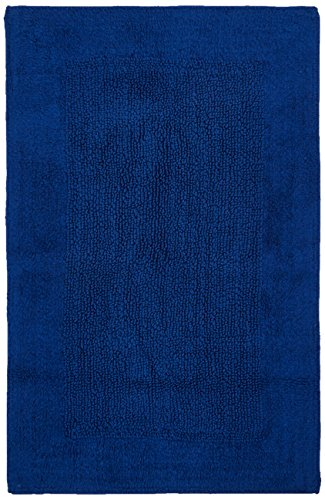 Casalanas - Fontechiari, doppia faccia, solido tappeto bagno, 100% cotone naturale, 60x100cm, blu scuro