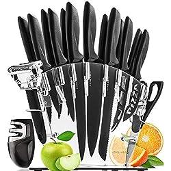HomeHero Lot de 13 Couteaux de Cuisine avec Bloc et Aiguiseur | Set d'Ustensiles Professionnels en Acier Inoxydable | 6 Couteaux à Steak, Couteau Chef, Pain, Pizza, Fromage et Plus | Éplucheur Offert