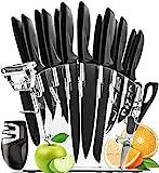 HomeHero Juego de 13 Cuchillos de Cocina con Soporte y Afilador | Utensilios de Acero Inoxidable para Profesionales y Aficionados | 6 Cuchillos para Bistec, Chef, Pizza, Queso y más | Pelador Gratis