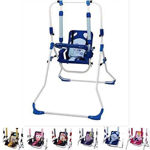 Clamaro 4 in 1 Babyschaukel 'SWING' Indoor Baby Schaukel, Wippe, Liege und Hochstuhl in einem, Sicherheitsgurt mit Bügel, gepolsterter Sitz, kompakt zusammenklappbar - Motiv: Flieger