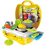 [Sponsored]KAGVAD 26 Pieces Kitchen Set Pretend Play Toys For Girls With Suitcase Carry Case, Yellow Color