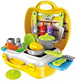 #1: MAGNIFICO™ 26 Pieces Kitchen Set Pretend Play Toys for Girls with Suitcase Carry Case, Yellow Color