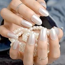 EchiQ - uñas postizas de perlas blancas y brillantes, pequeñas y redondas, para manicura