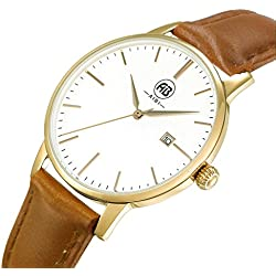 AIBI Men's Waterproof Gold Ultra-thin Case Analogue Quartz Wristwatch with Date