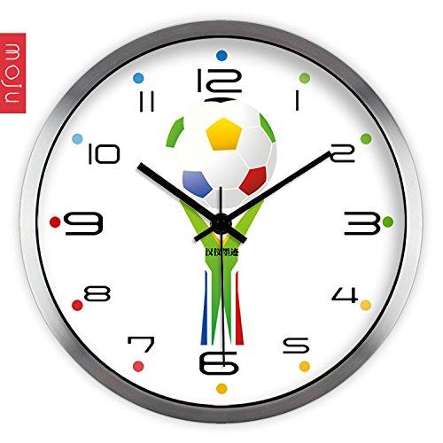 tickgeräusche,wanduhr groß,wanduhr vintage.Kreative Kunst Mode frische und einfache Farbe Fußball Wohnzimmer Mute Wanduhr Quarzuhr Wanduhr, 14 Zoll, Metalldraht Zeichnung ()