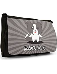 Scottish Cartoon Dogs Large Messenger Black Canvas Shoulder Bag - School / Laptop Bag