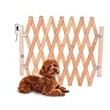Litthing Barrera de Seguridad para Mascotas de Perros Pequeños Barrera Extensible Doméstica de Madera (48 * 110 cm)