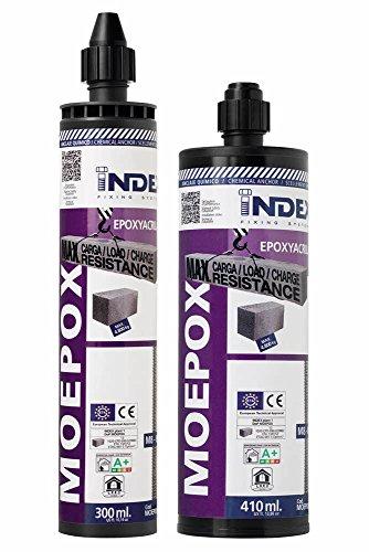 INDEX MOEPOX410 [MOEPOX] Anclaje químico para Grandes Cargas en Elementos macizos y Huecos. Epoxi-acrilato (410 ML, Set de 12 Piezas