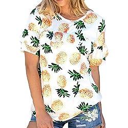 HaiDean T-Shirt Mujer Piña Impresión Tops Blusa Verano Manga Corta Cuello Redondo Modernas Casual Chic Fashion Casuales Shirts Basicas Elegantes Camisas Señoras (Color : White E, Size : L)