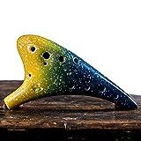 TAMUME Ocarina in ceramica fatta a mano modello galassia da Zelda 12 fori contralto C Ocarina con custodia protettiva, laccio da collo e spartito, Lemonade