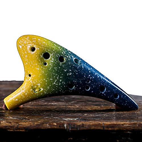 Tamume ceramica ocarina 12 buche alto c ocarine da legend of zelda con la borsa protettiva, stringa per collo e foglio musicale (limonata)