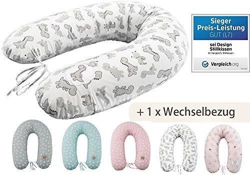 Sei Design Stillkissen Set, Schwangerschaftskissen 190 x 30 cm + 1x extra Stillkissenbezug, Dino