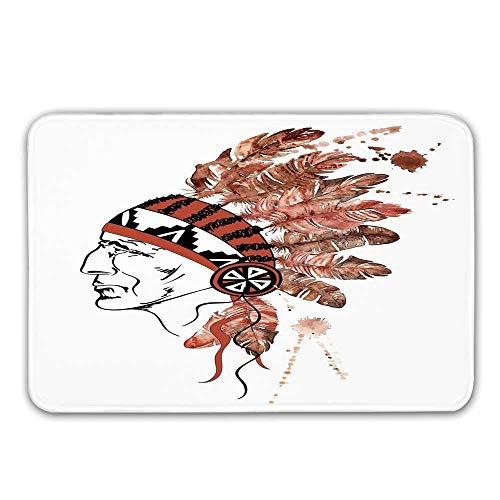 Kinhevao rutschfeste Gummieingangsdecke der Feder, künstlerischer Porträt-Ureinwohner-Stamm-Leiter mit traditioneller Kopfschmuck-dekorativer Fußmatte für Haustür