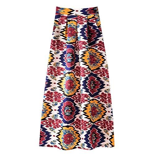 iYmitz Mode Damen A-Line Frühling und Sommer Rock Drucken Lässig Rock Retro Big Rock Blumen Party Kleider Elegant Strandkleid(Orange,EU-40/CN-2XL)