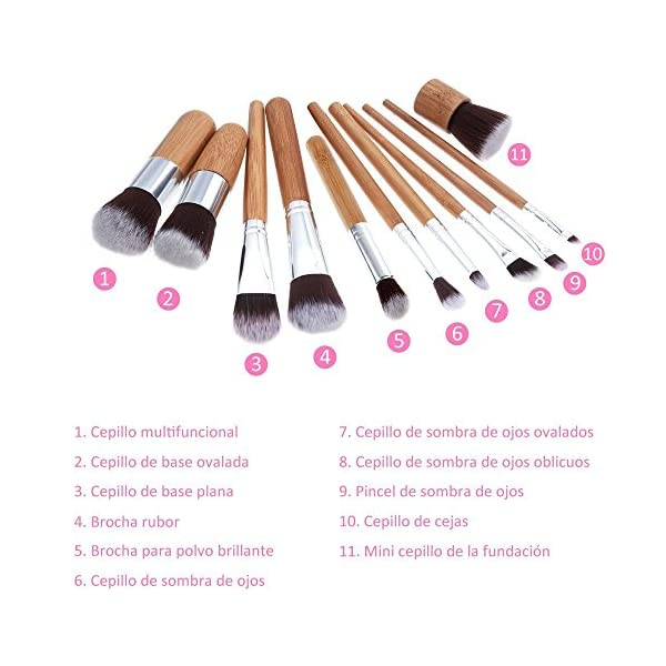 Rovtop 13 en 1, 11 Unidades Brochas y Pinceles de Maquillaje con Mango de Bambú/Juego de Cepillo de Maquillaje y Esponja para Maquillar, Incluido el Estuche