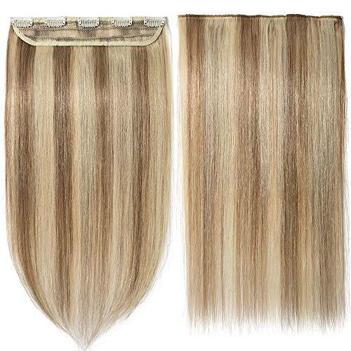 Extension capelli veri clip mèches fascia unica one piece remy human hair lunga 45cm pesa 50g, #12/613 marrone chiaro/ biondo chiarissimo