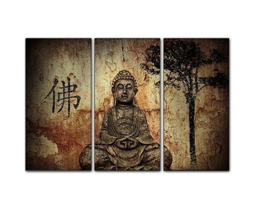 3 Foto Pezzo Muro Vera Tela Incorniciata (Buddha 3X40X80Cm) Splendida Parete Decodificare Madia Immagini Pronta Barella Xxl. Stampa Artistica Tela. Inquadramento Economico Incl