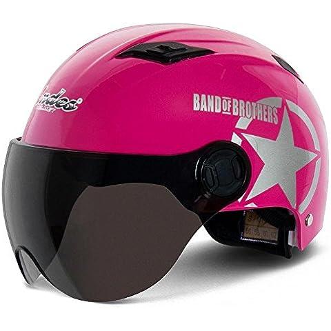 Casco de motocicleta coche eléctrico casco hombres y mujeres mitad casco Harley casco casco verano, rosa