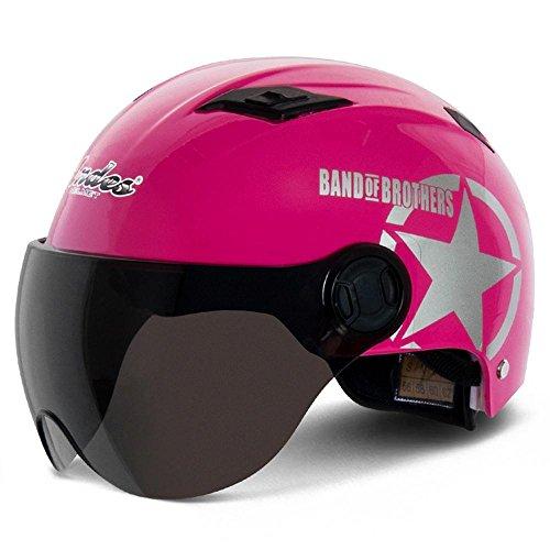 TCFXHZXC Motorrad Helm Elektroauto Helm Männer Und Frauen Halbe Helm Harley Helm Helm Sommer (Color : Pink)