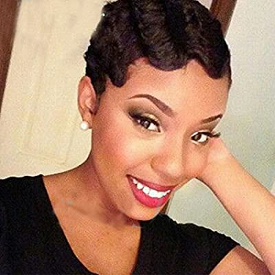 S-noilite® 7A Grade Brazilian Virgin Human Hair Wigs Short Wavy Curly Natural Black for Women from S-noilite®