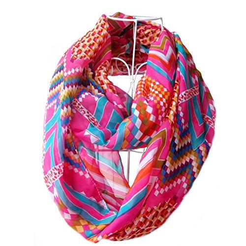 Frauen Damen Mädchen Chiffon Wellen geometrisches Muster drucken Schal Multicolor Infinity Loop Circle Schal rosarot (Schiere Frühling)