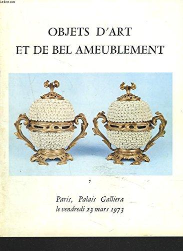 OBJETS D'ART ET DE BEL AMEUBLEMENT. PORCELAINES, FAÏENCES ET BISCUITS ANCIENS. SCULPTURES. CHENETS, VASES, PENDULES, BOIS SCULPTES, ... LE 23 MARS 1973.