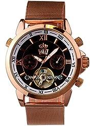 Lindberg & Sons Reloj Automático piraeus Acero/Negro/Rose Gold Colores con Milan ese pulsera