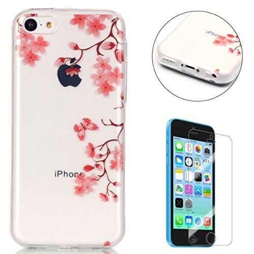 Coque iPhone 5C Housse Silicone de Gel [Gratuit Protections D'écran],CaseHome Clear Ultra Slim Transparente Antichoc Doux Protecteur TPU Mode Motif-Fleur Rose Papillon