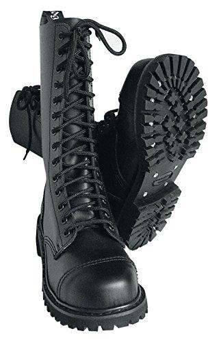 s Stiefel mit Stahlkappe Farbe Schwarz oder Bordeaux Schnürschuh 42/8,Schwarz (Schwarze Springerstiefel)