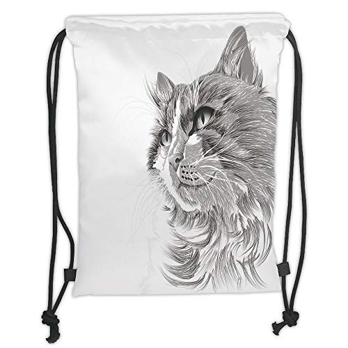 OQUYCZ Drawstring Sack Backpacks Bags,Animal,Cat Head Portrait Furry Cute Head Kitten Domestic Meow Pet Drawing Illustration Decorative,Grey White Soft Satin,5 Liter Capacity,Adjustable String