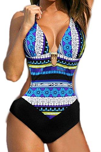 Donne In Bikini Top Floreali Un Pezzo Del Costume Blue