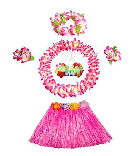 Kinder Rosa Gras-Rock mit Blumen-Armbänder Stirnband Halskette Hula Set