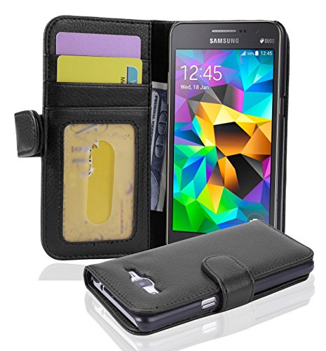 Cadorabo Hülle für Samsung Galaxy Grand Prime - Hülle in Oxid SCHWARZ - Handyhülle mit 3 Kartenfächern - Case Cover Schutzhülle Etui Tasche Book Klapp Style