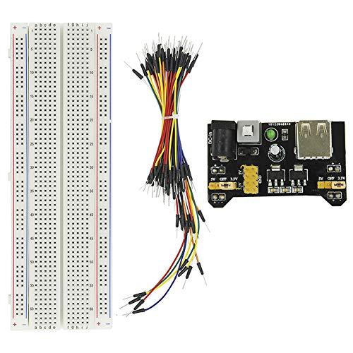 KeeYees Breadboard Set, mit 830 Pin MB-102 Steckbrett, Jumper Kabel 12cm 16cm 20cm 24cm, Netzteil Modul 3,3 V 5 V für Arduino Raspberry Pi 24 Pin Wire