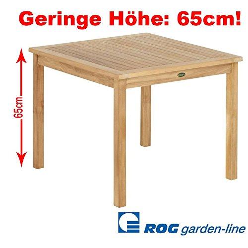 ROG garden-line TL8136: Teak Lounge Tisch Cardiff Fest 100x100 cm (Niedrig mit 65 cm Höhe)
