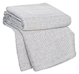 Charcoal , Full/Queen : Bedford Home Chevron 100Percent Egyptian Cotton Blanket - Full/Queen - Char