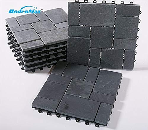BodenMax Naturstein Schiefer Click Bodenfliesen Set 30 x 30 cm Terassenfliesen Slate Stone Terassenplatte Stein Fliese anthrazit Klickfliesen schwarz grau (8 Stück)