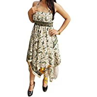 Mogul Interior Olivia Ladies Halter Dress Recycled Sari Handkercheif Hem Backless Printed Summer Holiday Sundress S/M