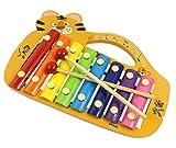 Hillento Holz-Xylophon für Kinder - bestes musikalisches Spielzeug für Kleinkinder in perfekter Größe - mit 8 hellen, bunten Metallschlüsseln, 2 kindersicheren Holzschlägeln, Holzinstrument Tigerform