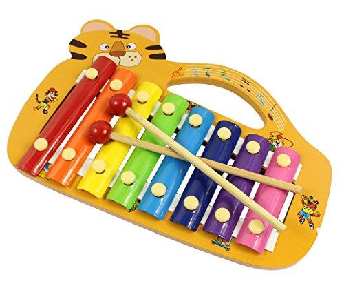 Hillento xilófono de madera para los niños - el mejor juguete musical de tamaño perfecto para los niños pequeños - con 8 teclas luminosas de múltiples colores metálicos, 2 mazos de madera a prueba de niños, la forma de madera instrumento tigre