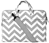 MOSISO Épaule Laptop Sleeve Sac Porte-documents, Toile Tissu Carry Case pour 14-15.6 Pouces MacBook Pro 2016, MacBook Pro, Ordinateur Portable, Chevron Gris