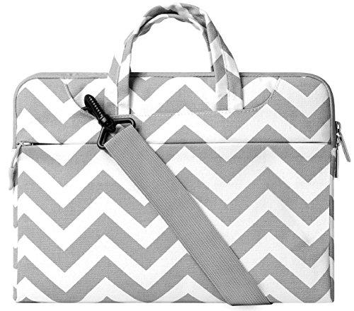 MOSISO Épaule Laptop Sleeve Sac Porte-documents, Toile Tissu Carry Case pour 14-15.6 Pouces MacBook Pro 2016, MacBook Pro, Ordinateur Portable, Chevron Gris