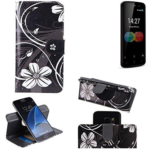 K-S-Trade Schutzhülle für Allview P6 eMagic Hülle 360° Wallet Case Schutz Hülle ''Flowers'' Smartphone Flip Cover Flipstyle Tasche Handyhülle schwarz-weiß 1x