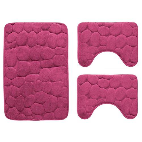 Set 3 pz tappetini da bagno antiscivolo tappeti memory foam p205 fucsia